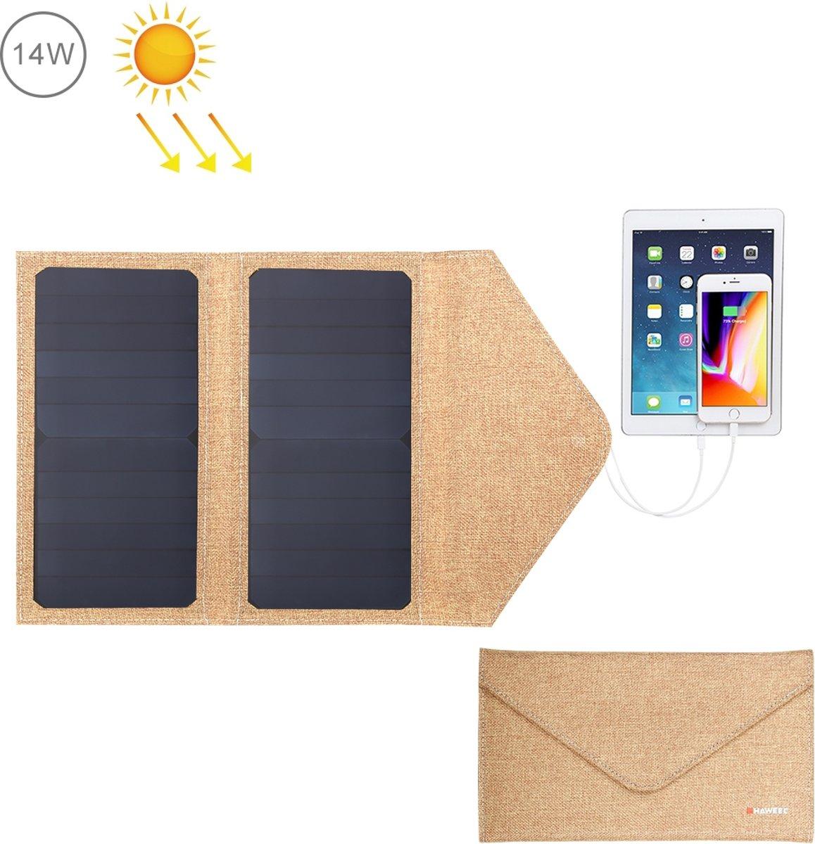 HAWEEL 14W opvouwbare zonnepaneel oplader met 5V / 2.1A Max dubbele USB-poorten (geel)