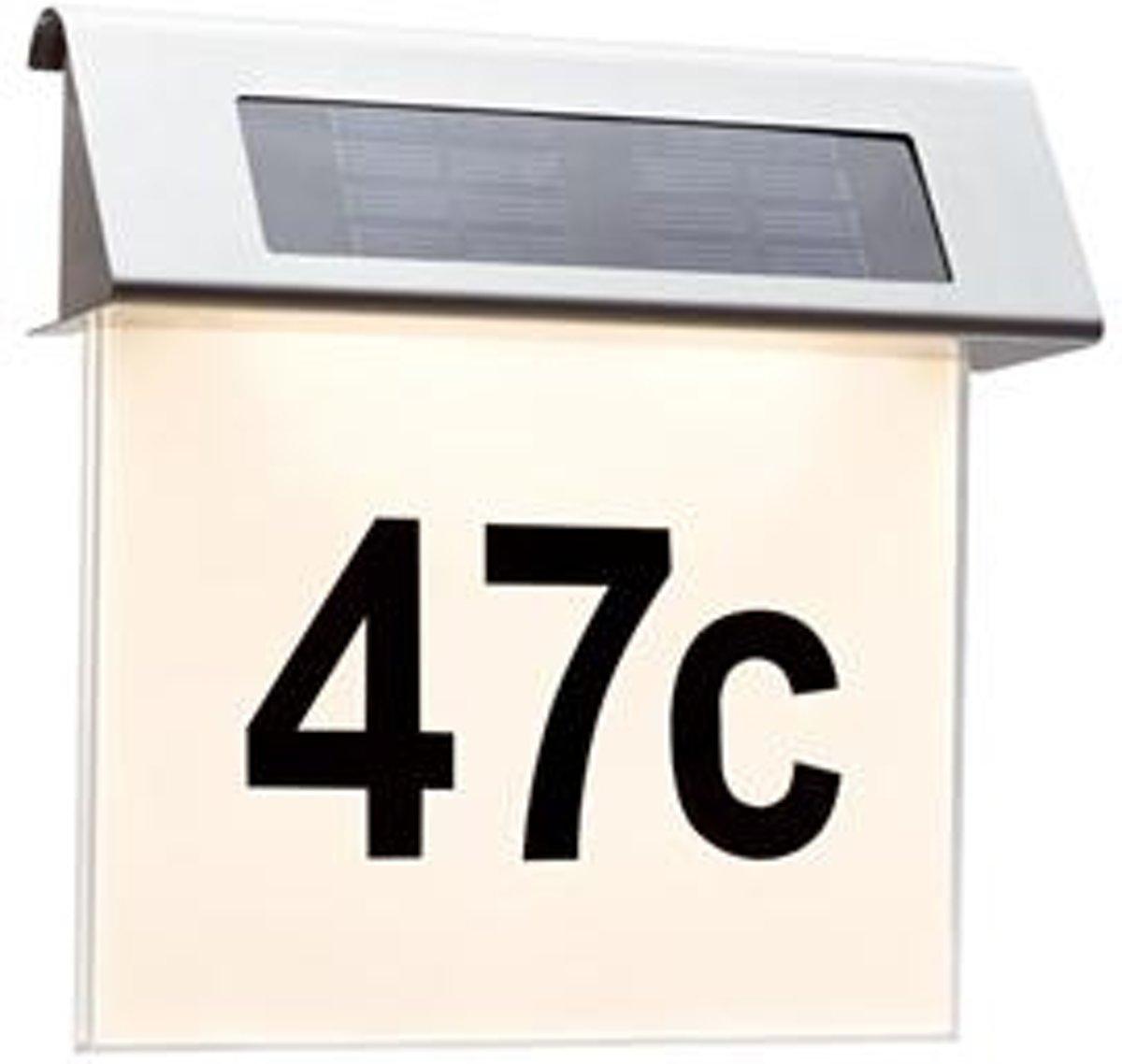 Special huisnummerverlichting op zonne-energie IP44 LED 1x0,2 W, roestvrij staal/wit roestvrij staal/acryl
