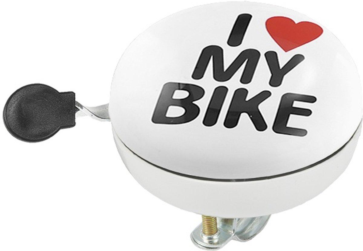 M-Wave fietsbel ding-dong I love my bike 80 mm wit