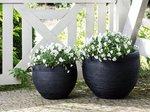 Beliani Zakros Plantenbak Zwart Keramiek