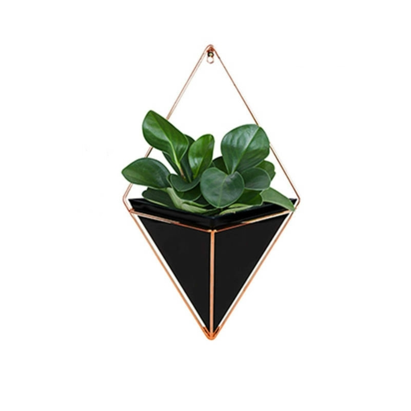 2 PC'S innovatieve opknoping planter vaas succulente planten geometrische Wall Decor container maat: L (zwart)