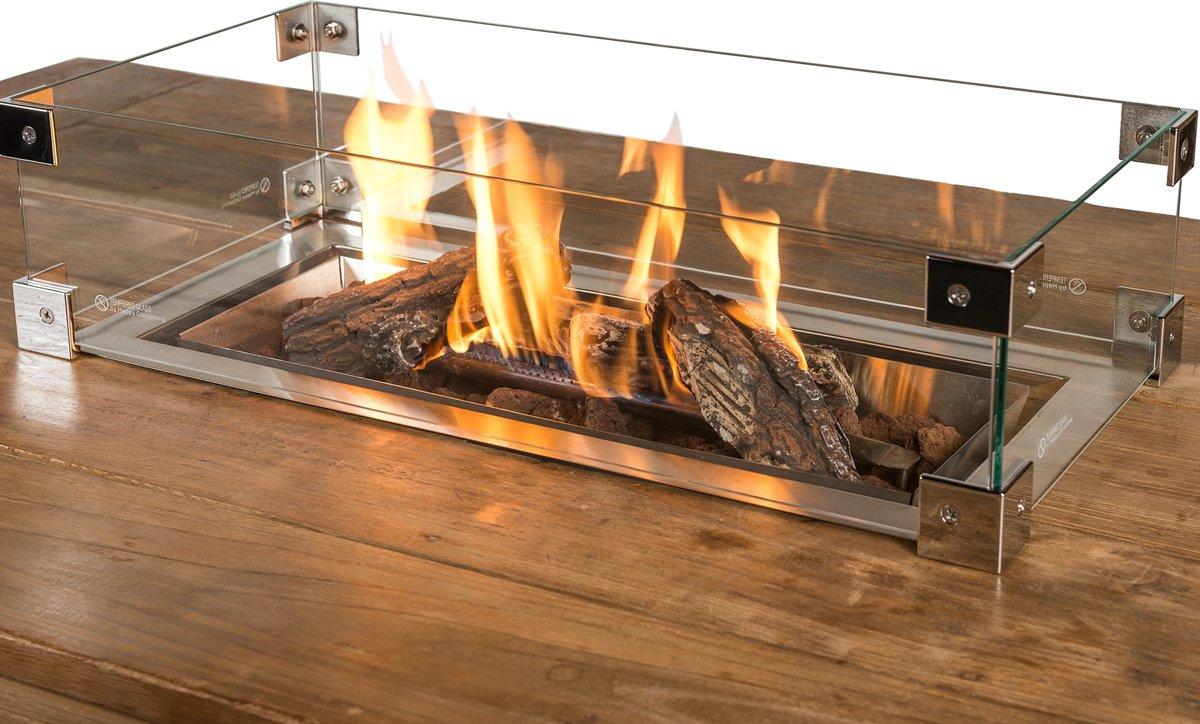 Happy Cocooning glazen ombouw inbouwbrander rechthoek groot 100x33x17 cm