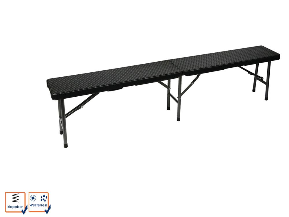 Perel Klapbank met rieten patroon zwart FP160R