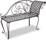 vidaXL Metalen lounge tuinbank met krulpatroon bruin