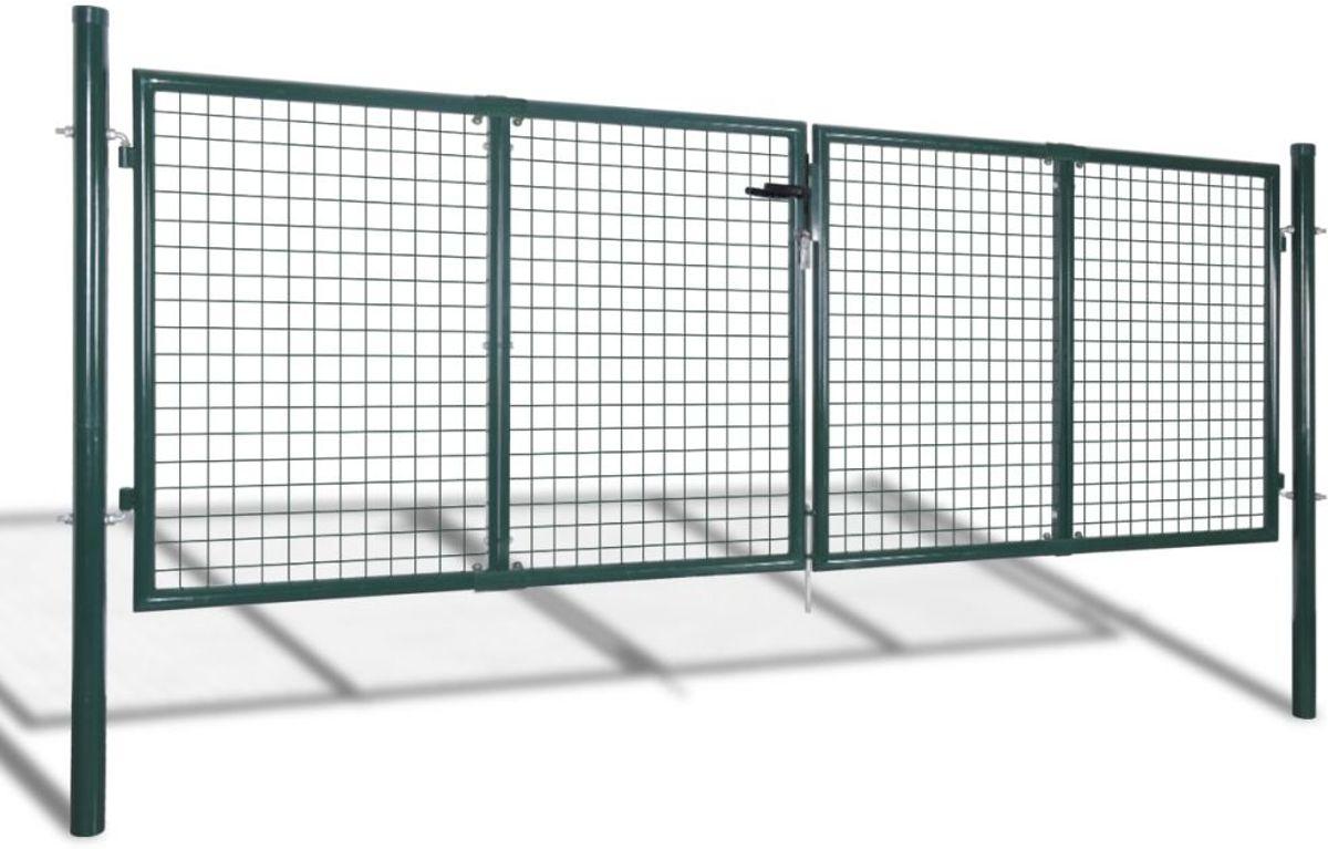 vidaXL Tuinhek poort 289x100 cm/306x150 cm staal groen