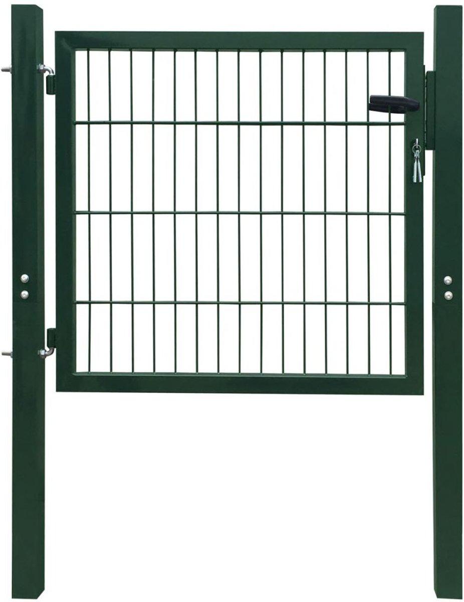 vidaXL Tuinpoort staal groen 106x150 cm