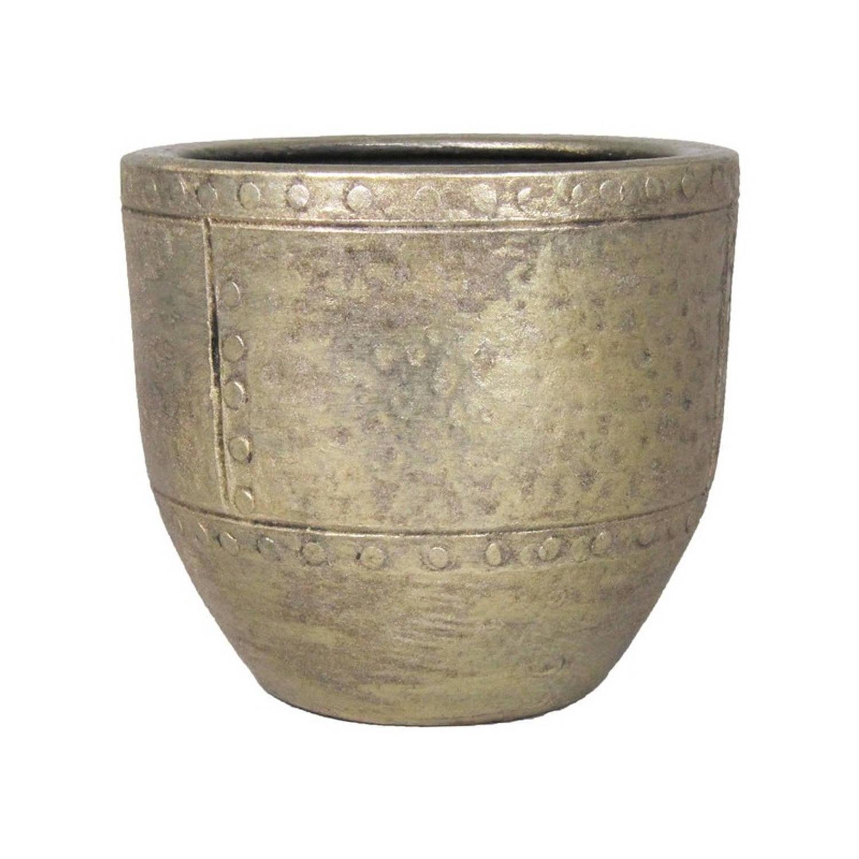 Bloempot/plantenpot Van Keramiek In Het Industrieel Goud D16 En H14 Cm - Binnen Gebruik - Romeinse Stijl