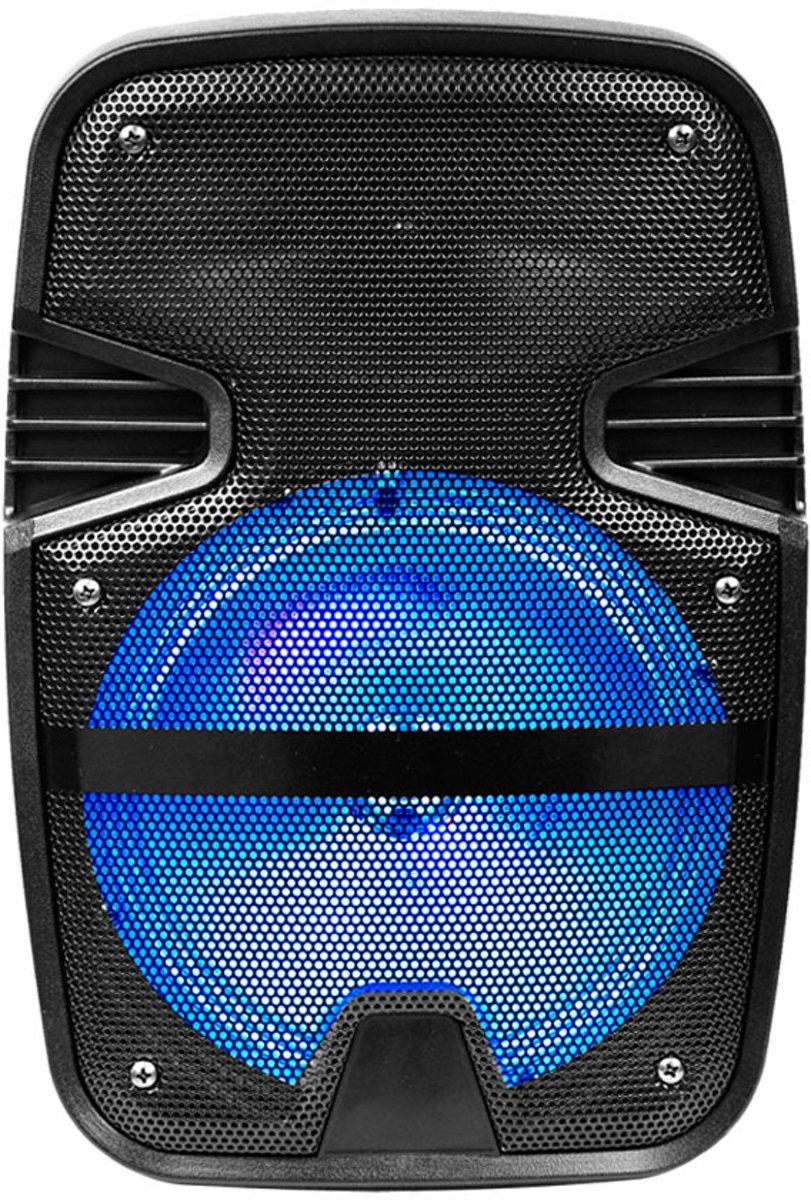V-tac VT-6208 Mobiele accu speaker met Bluetooth, bedrade microfoon en LED lichteffect - R