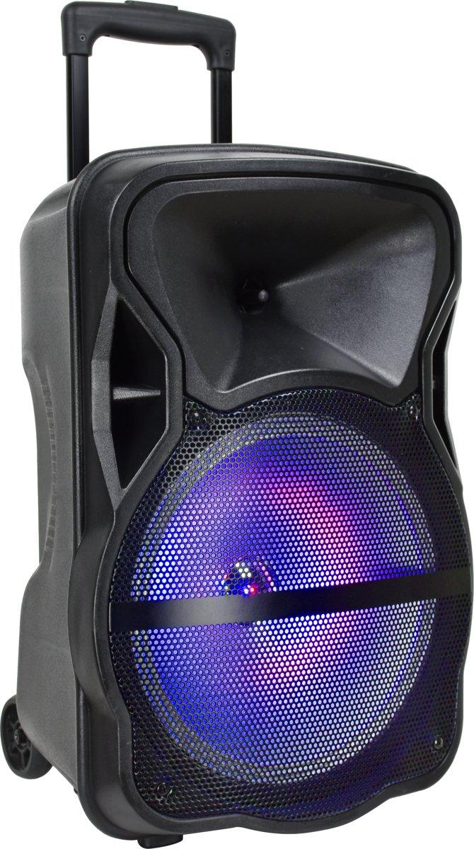 V-tac VT-6315 Mobiele accu speaker met Bluetooth, 1draadloze microfoon, 1 bedrade microfoo