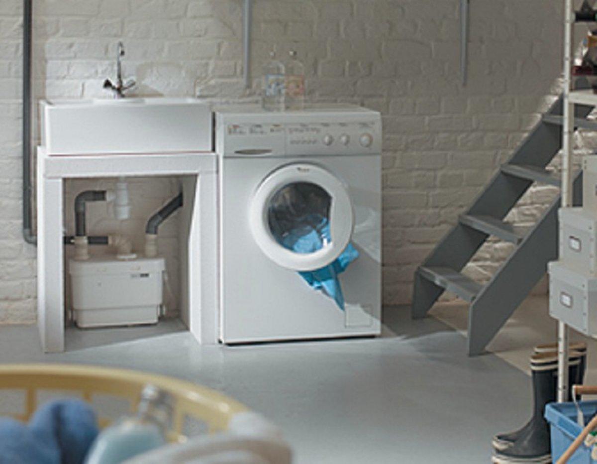 Sanibroyeur Sanivite vuilwaterpomp voor keuken-douche-bad-bidet en wastafel opvoerhoogte 5m of horizontaal 50m wit 005096