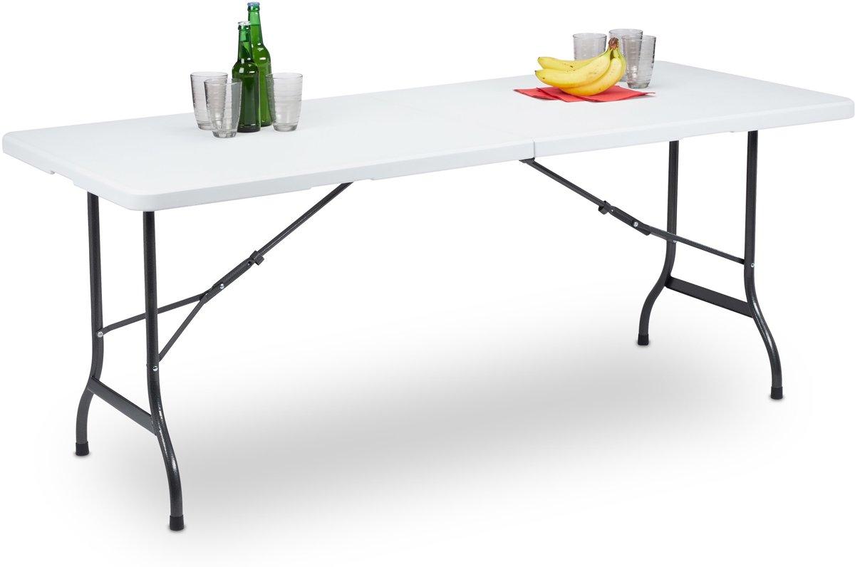 relaxdays tuintafel vouwbaar - eettafel - campingtafel - picknicktafel kunststof - wit