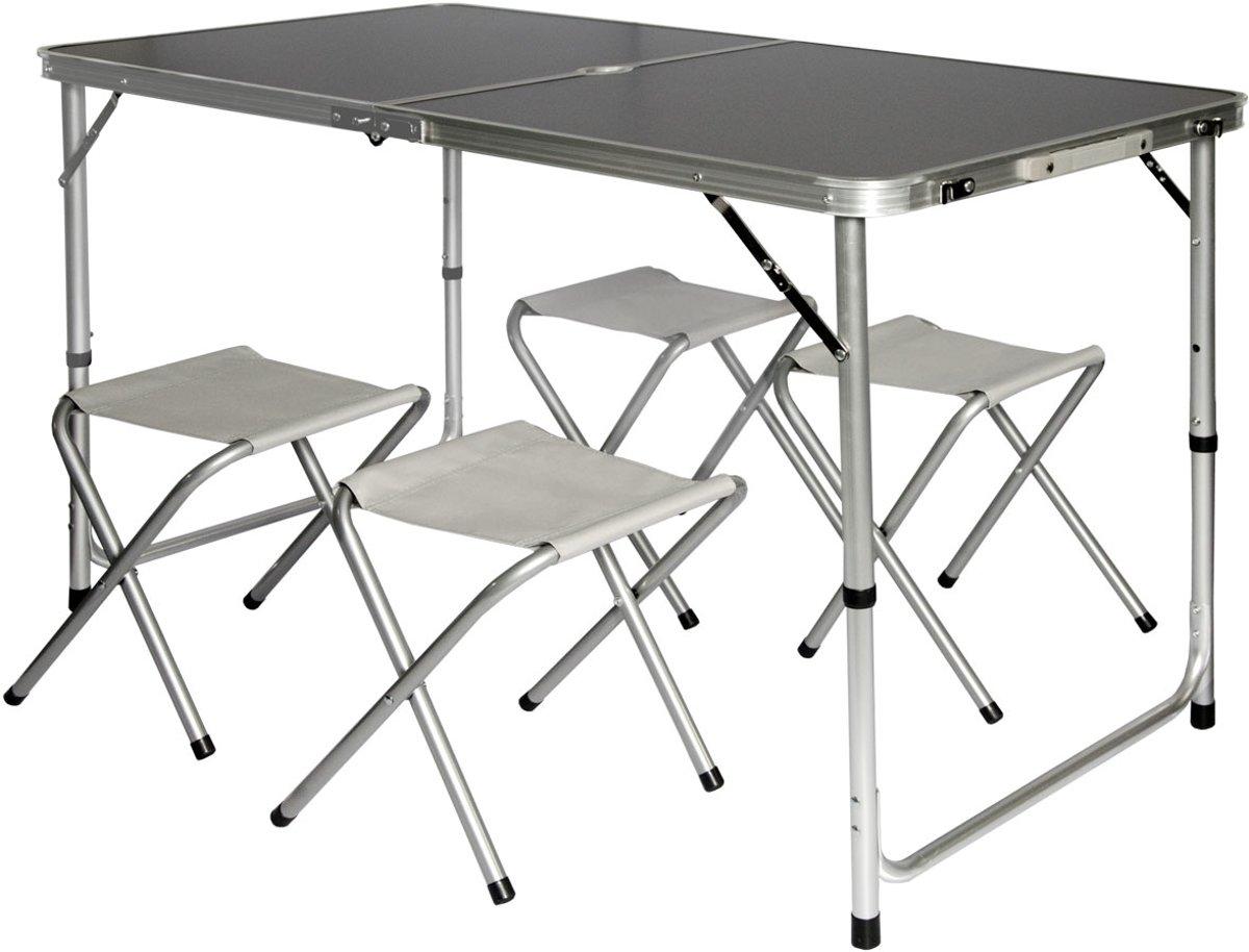 Inklapbare, in hoogte verstelbare campingtafel 120x60x70cm met 4 inklapbare krukken
