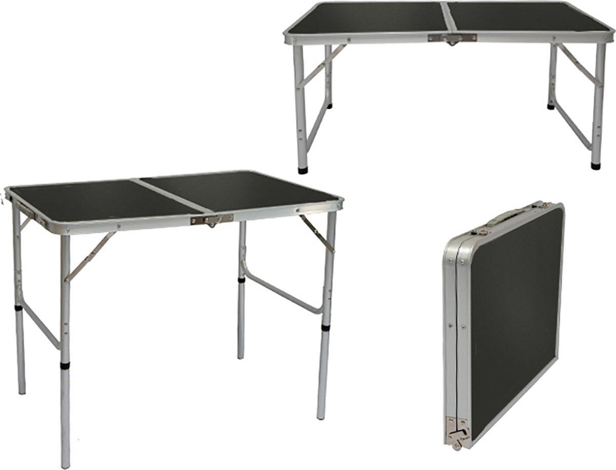 In hoogte verstelbare campingtafel 90x60x70 cm Lichtgewicht klaptafel Reistafel in kofferformaat Gri