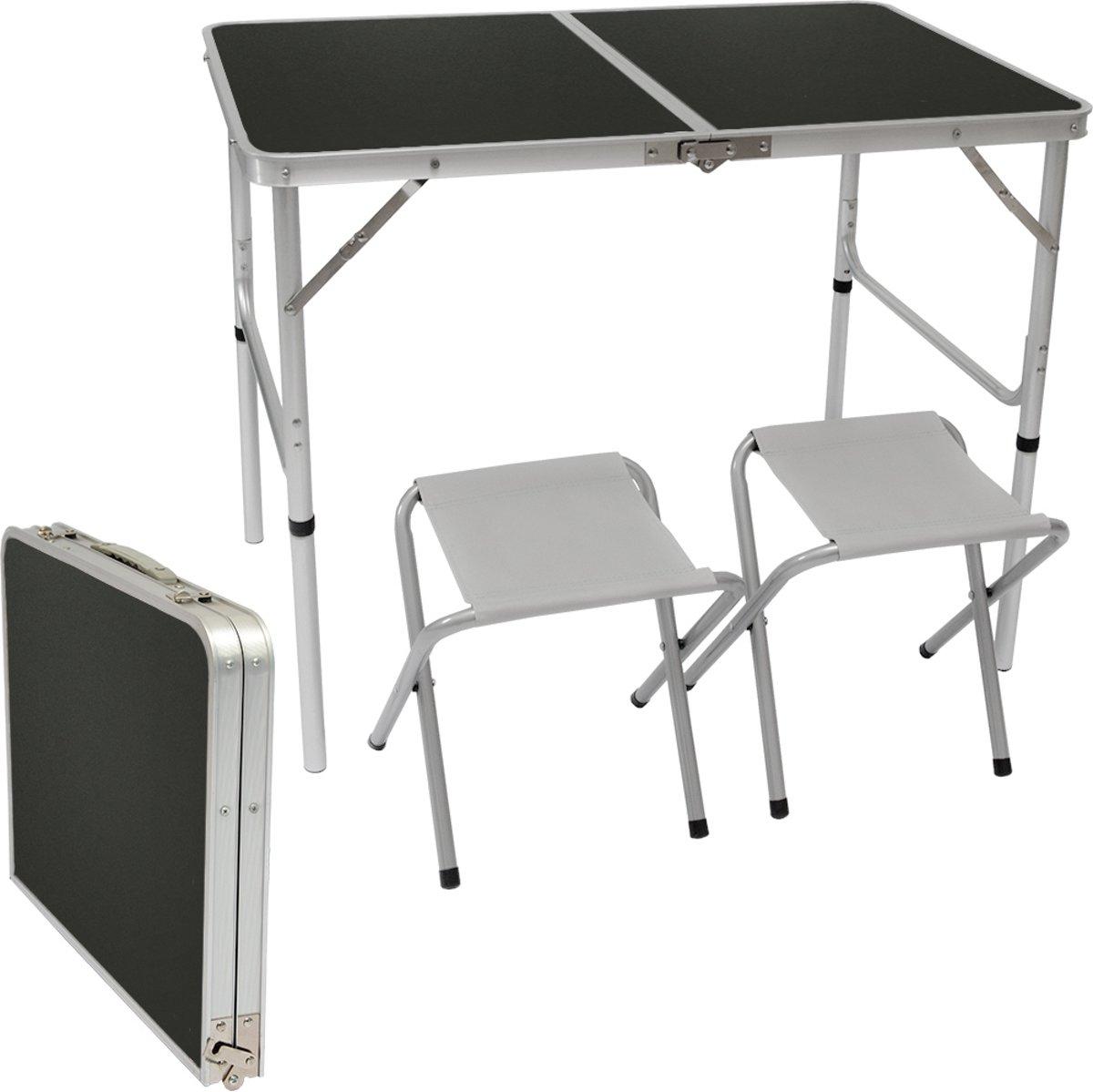 In hoogte verstelbare campingtafel 90x60x70 cm incl. 2 inklapbare krukken Campingtafelenset Kofferma