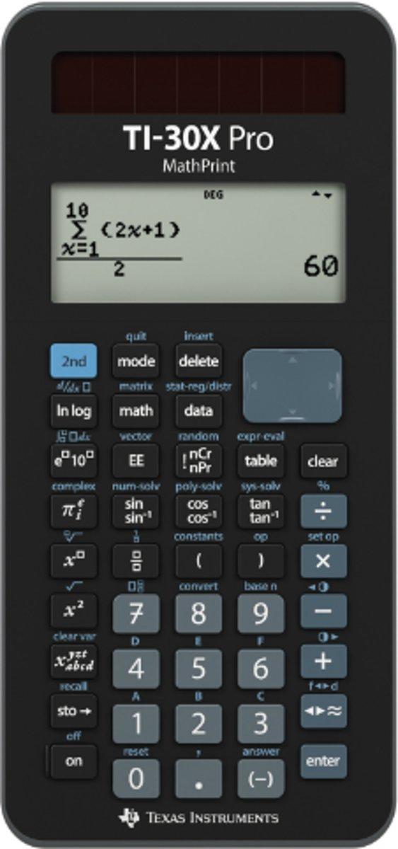 Schoolrekenmachine Texas Instruments TI-30X Pro MathPrint Zwart Aantal displayposities: 16 werkt op batterijen, werkt op zonne-energie