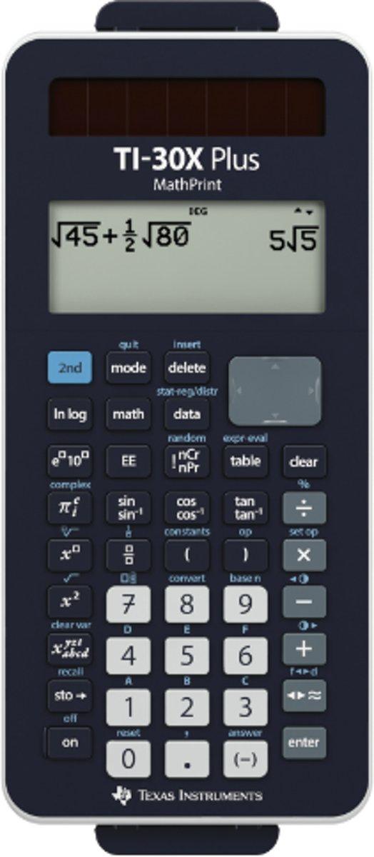Schoolrekenmachine Texas Instruments TI-30X Plus MathPrint Zwart Aantal displayposities: 16 werkt op batterijen, werkt op zonne-energie