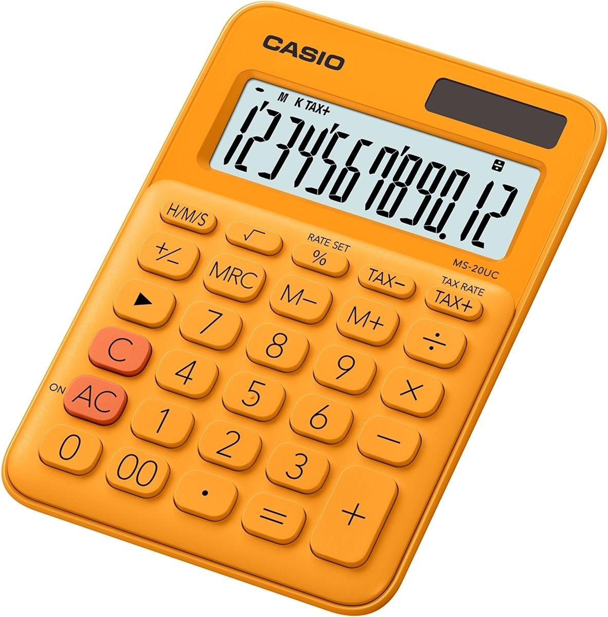 Bureaurekenmachine Casio MS-20UC Oranje Aantal displayposities: 12 werkt op zonne-energie, werkt op batterijen