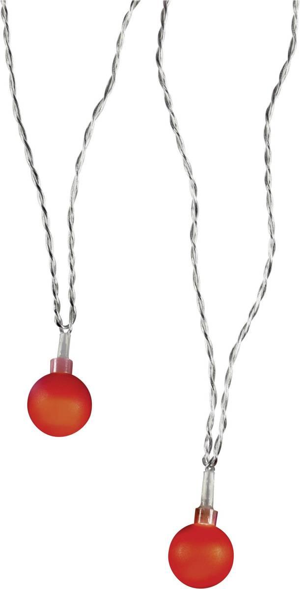 Polarlite 684896 Motief lichtketting Bollen Binnen werkt op het lichtnet 20 LED Rood Verlichte lengte: 5.7 m