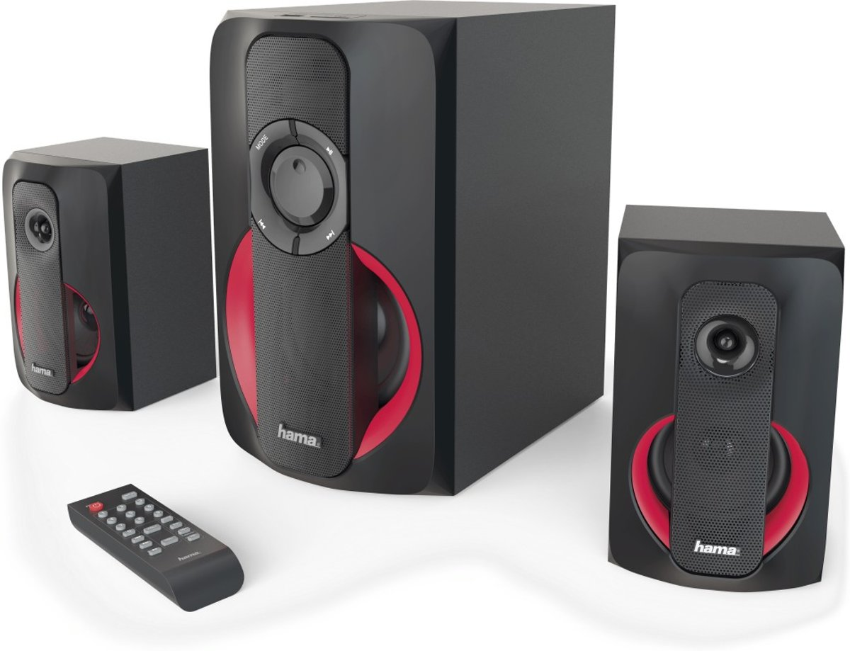 Hama PR-2180 2.1kanalen 80W Zwart, Rood luidspreker set
