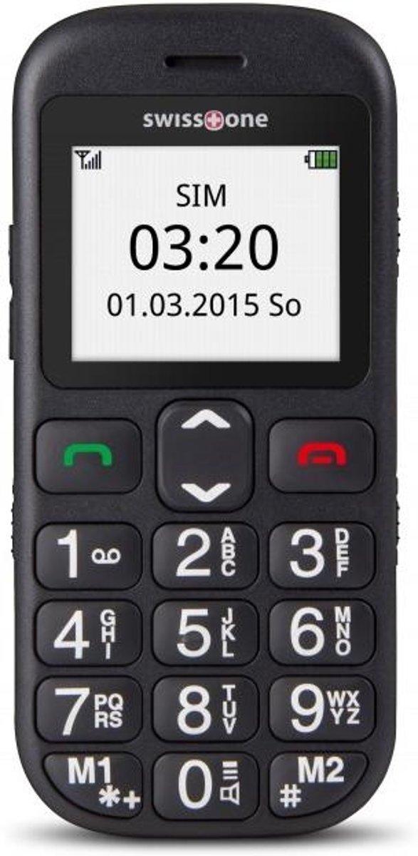 swisstone BBM 320c Senioren mobiele telefoon Laadstation, SOS-knop Zwart