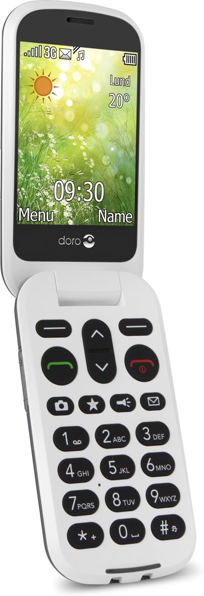 DORO 6050 Senioren clamshell telefoon Laadstation, SOS-knop Grafiet, Wit