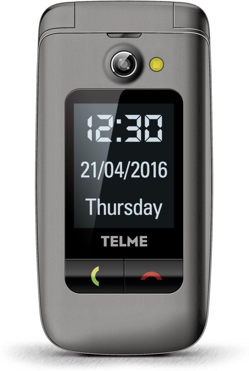 Telme X200 Senioren clamshell telefoon Laadstation, SOS-knop Spacegrijs