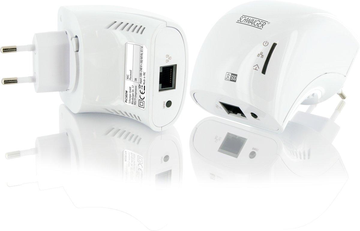 Schwaiger PLC502M Powerline zonder wifi - 2 Stuks
