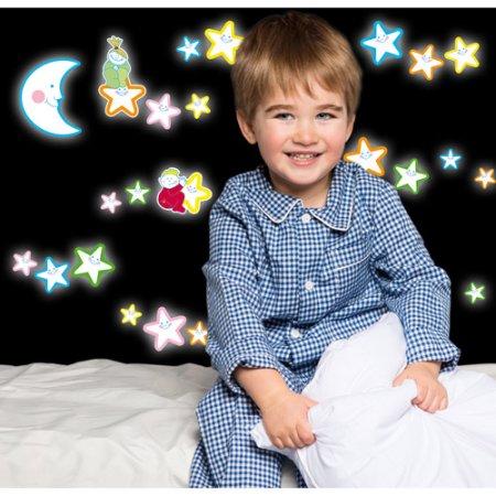 Kids Decor muurstickers lachende sterren glow in the dark