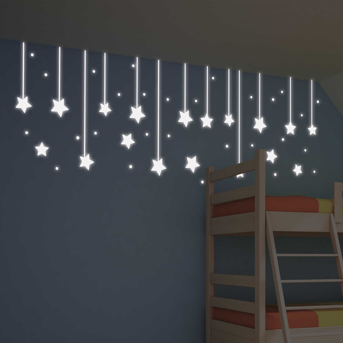 Kids Decor muurstickers hangende sterren glow in the dark