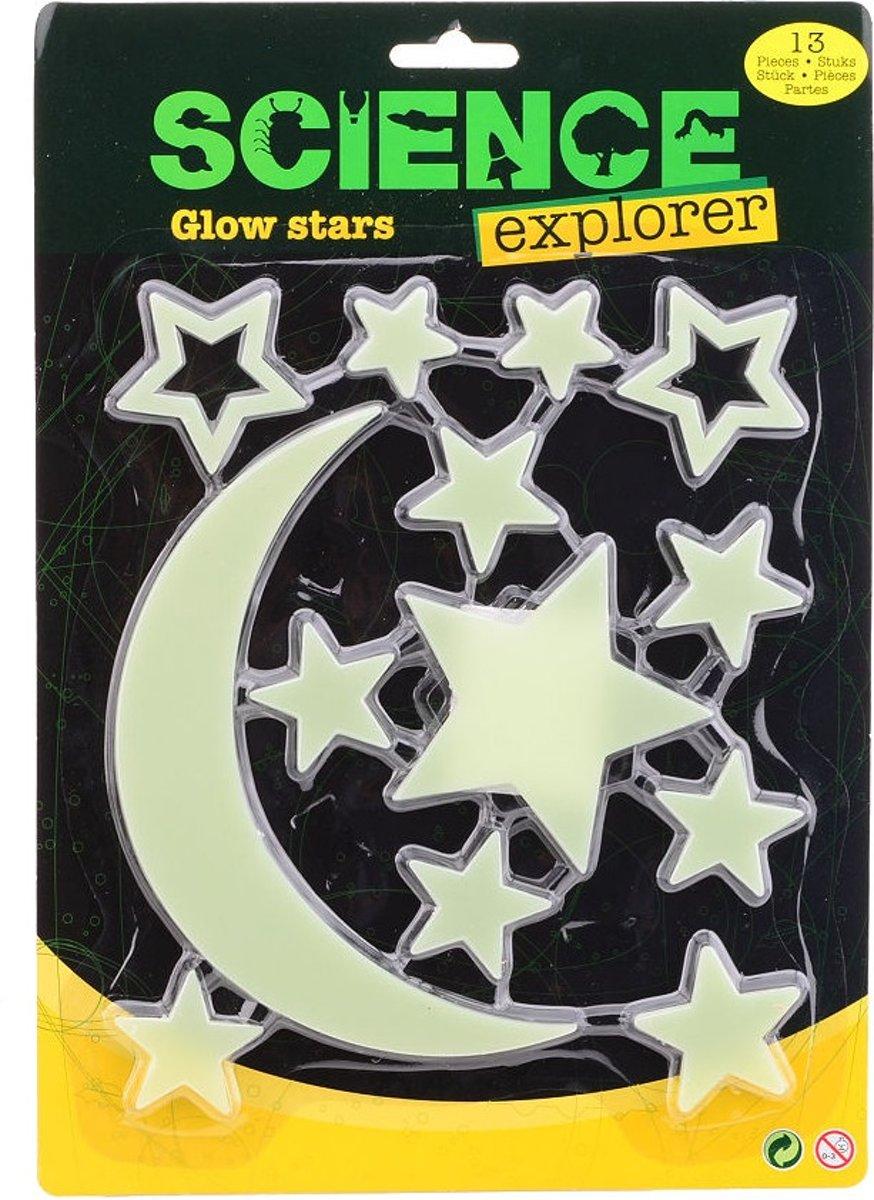 Johntoy glow in the dark sterren en maan 13-delig