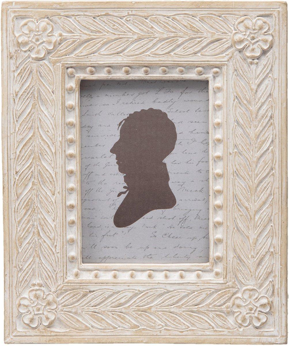 Clayre & eef fotolijst op doosje 12x15x5 cm / 6x8 cm - beige - kunststof