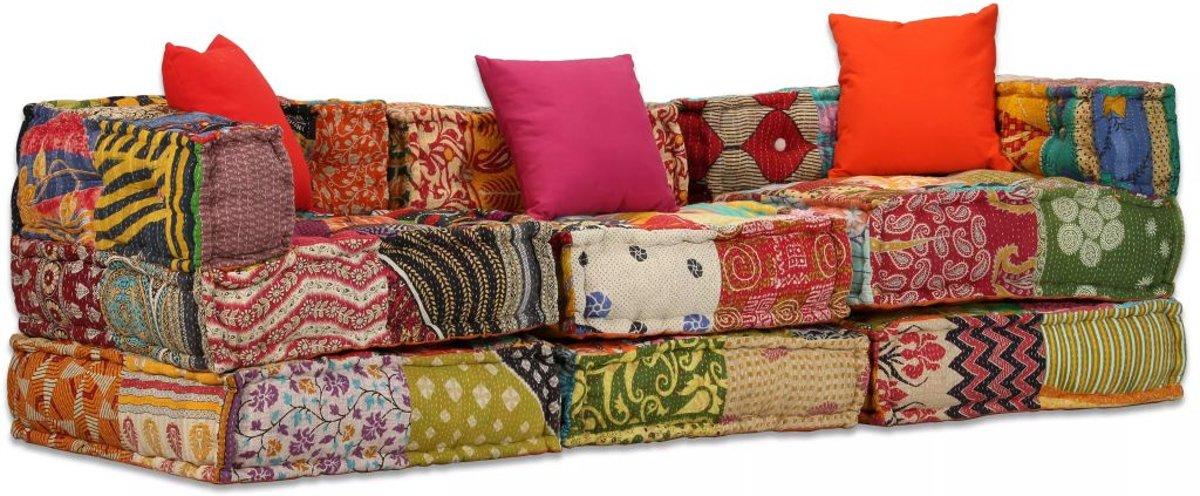 vidaXL Driezits slaapbank modulair stof patchwork