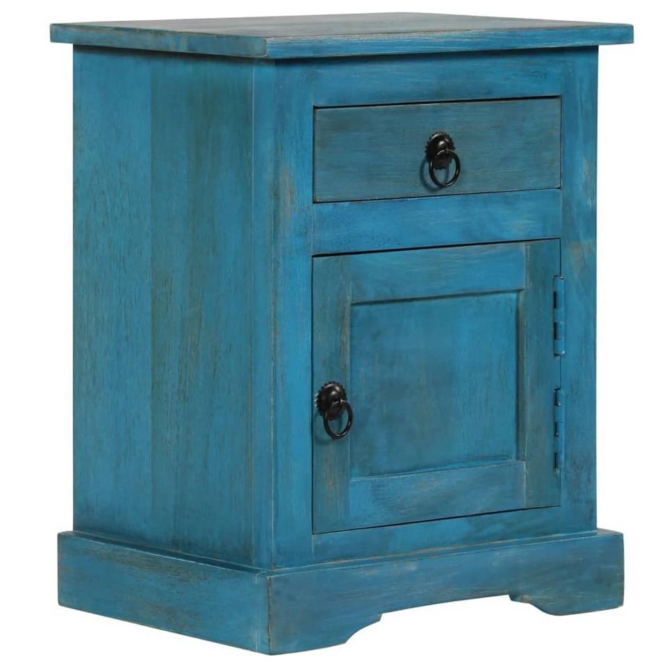 vidaXL Nachtkastje 40x30x50 cm massief mangohout blauw