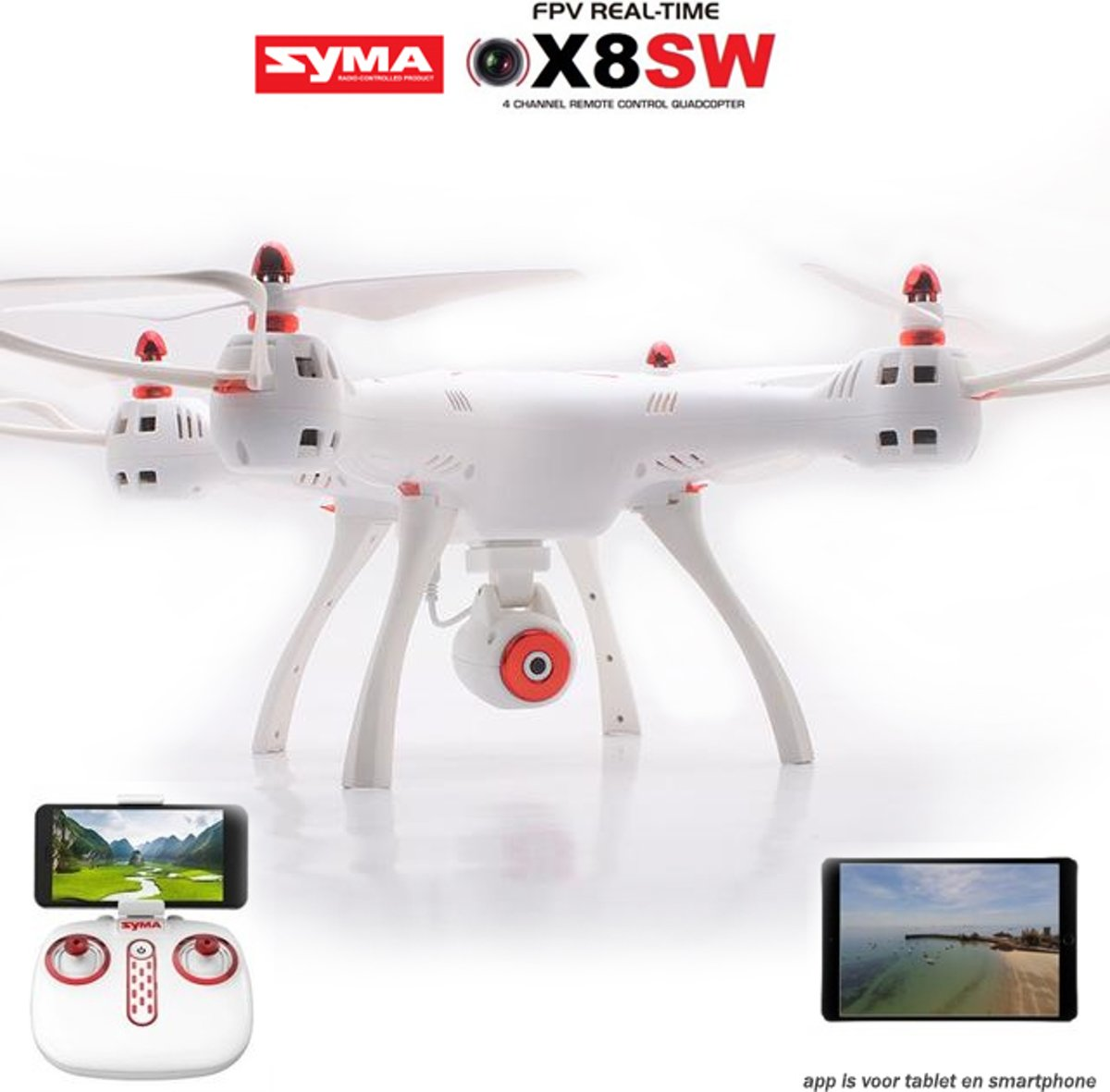Syma X8SW Drone - 720p Hd live camera  + One Key Take-off