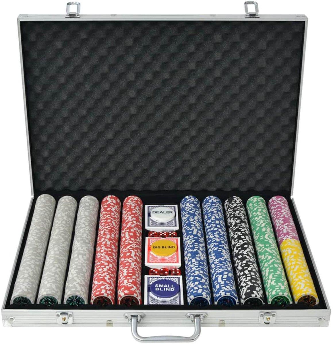 vidaXL Pokerset met 1000 laser chips aluminium