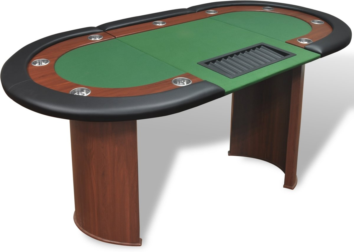 vidaXL Pokertafel voor 10 personen met dealervak en fichebak groen