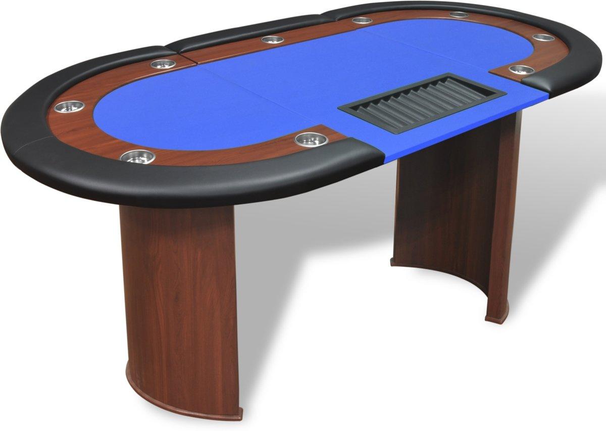 vidaXL Pokertafel voor 10 personen met dealervak en fichebak blauw