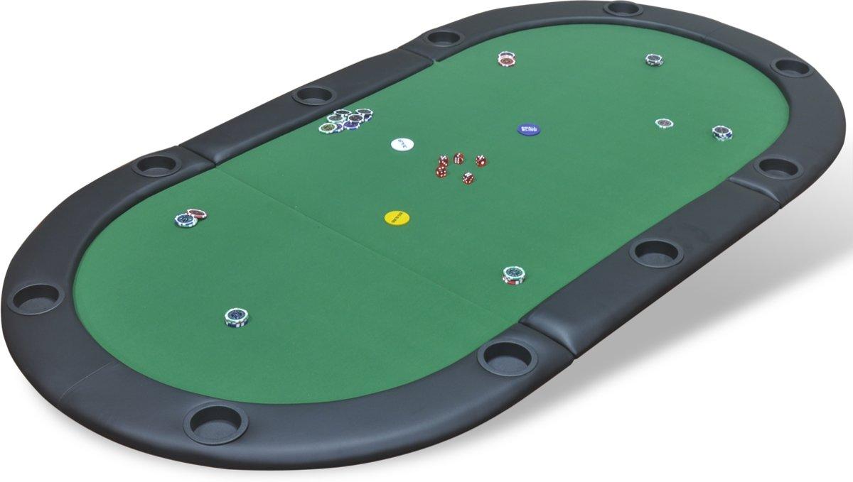 vidaXL Poker tafelblad voor 10 spelers inklapbaar groen