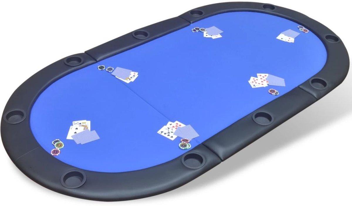 vidaXL Poker tafelblad voor 10 spelers inklapbaar blauw