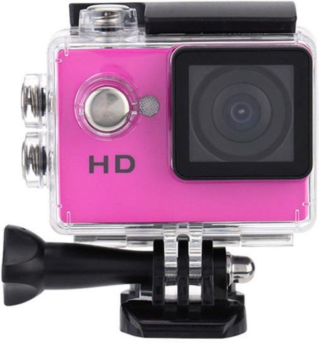 4K Full HD Sport Actie Camera   Action Sports Cam 1080p   2 inch LCD scherm   Onderwater Camera   Waterdicht tot 30 meter   Extreme Sport Camera inclusief accessoires   kleur Roze