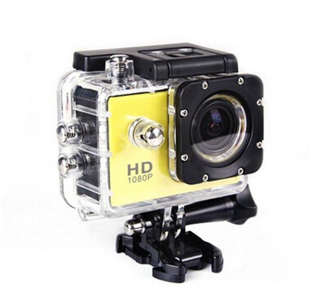 4K Full HD Sport Actie Camera   Action Sports Cam 1080p   2 inch LCD scherm   Onderwater Camera   Waterdicht tot 30 meter   Extreme Sport Camera inclusief accessoires   kleur geel