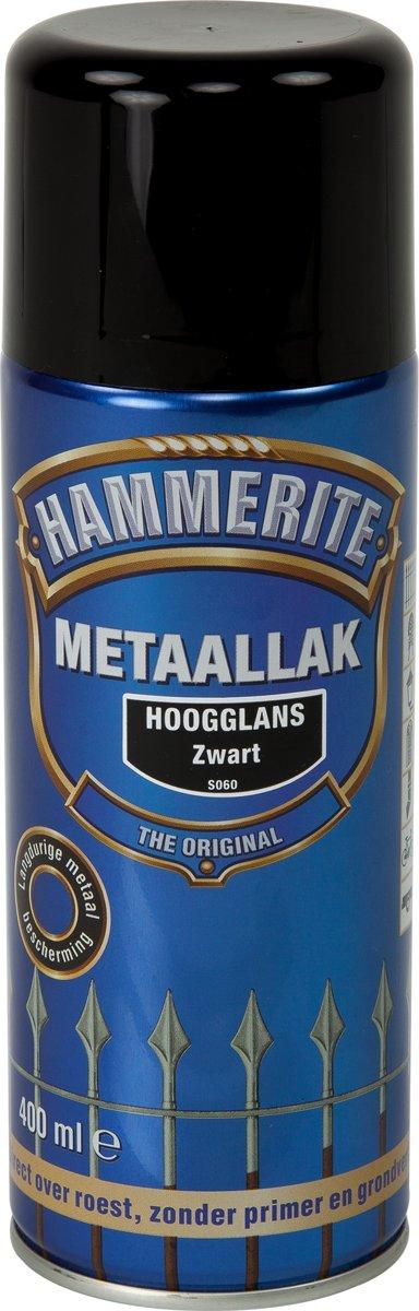 Hammerite Metaallak Spray Hoogglans Zwart S060 - 400 ml