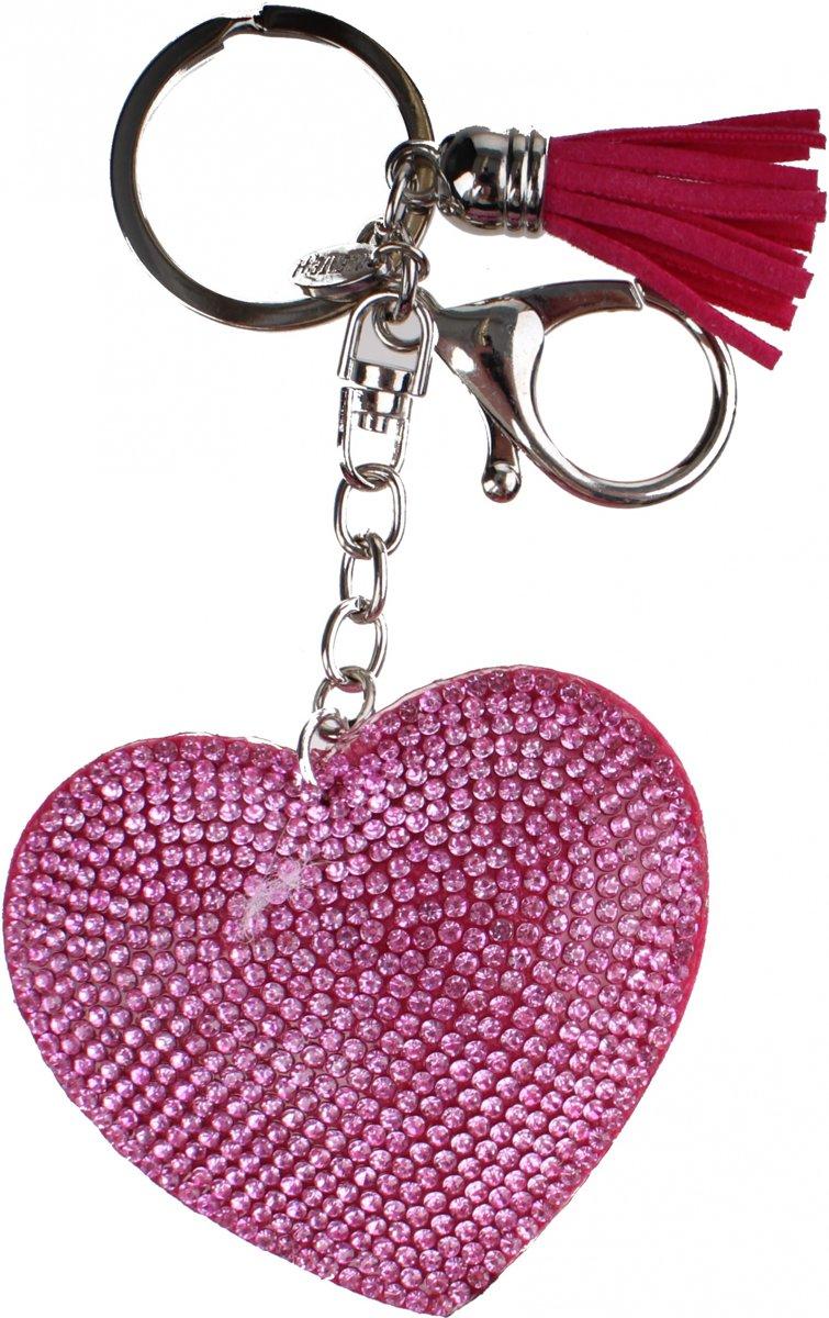 Create it! sleutelhanger hart met strass-steentjes 5 cm roze