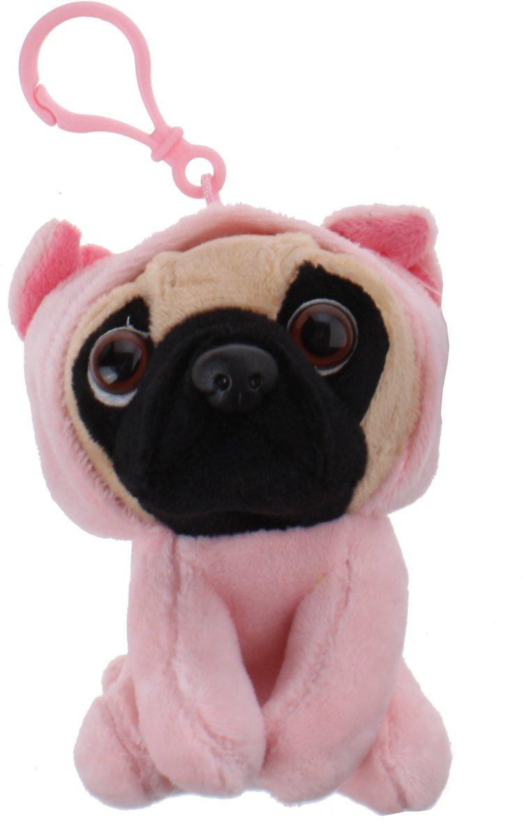 Kamparo sleutelhanger Pugs and Kisses varken 11 cm roze