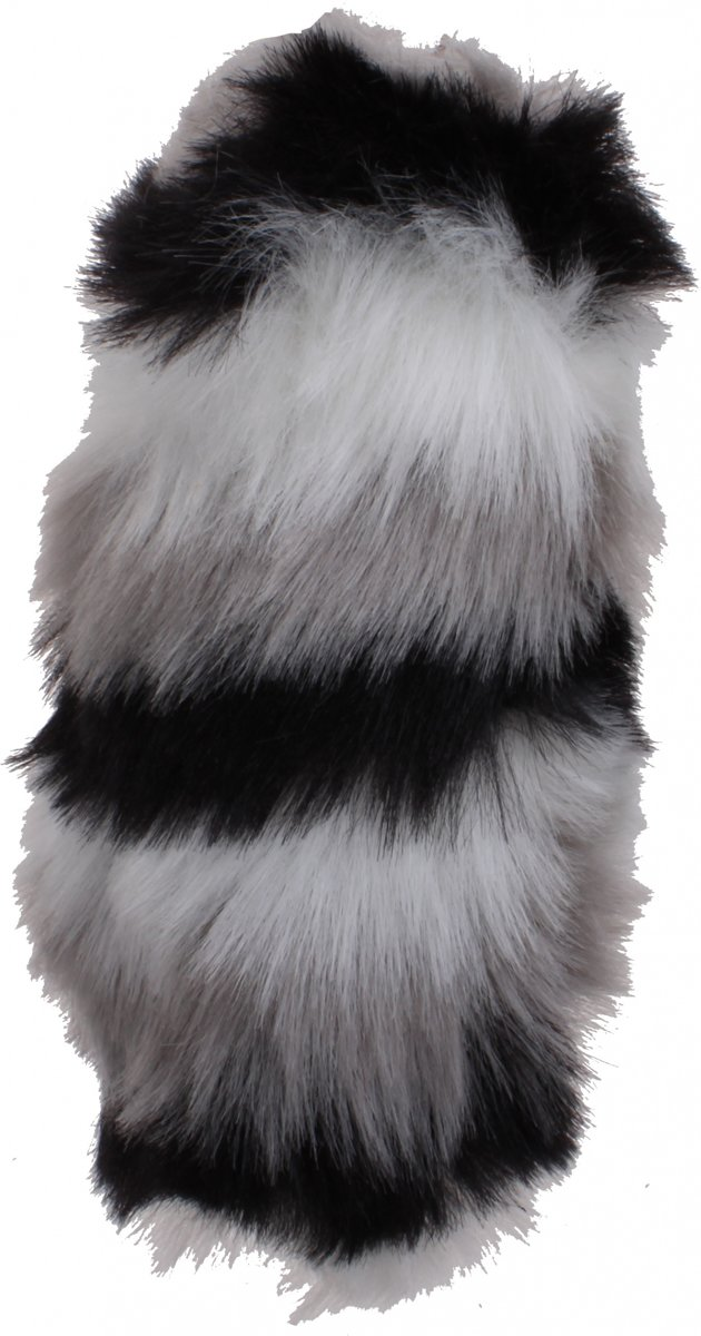 Kamparo sleutelhanger fluffy zwart met wit 15 cm