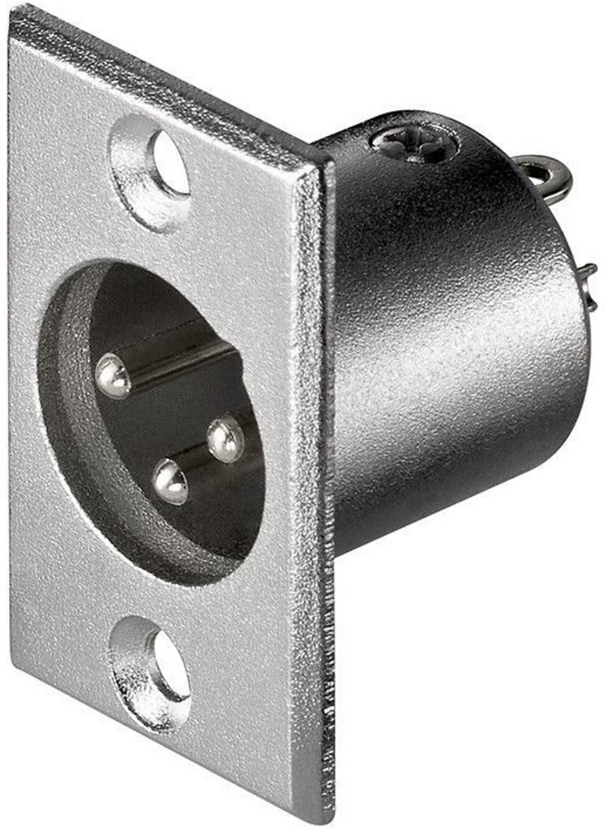 S-Impuls XLR 3-pins inbouwconnector (m) - grijs