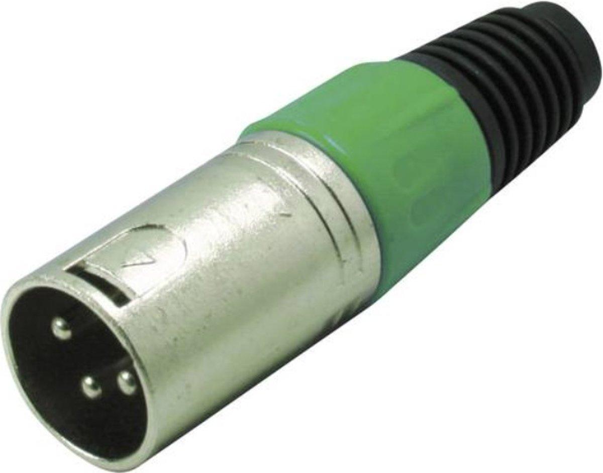 S-Impuls XLR 3-pins (m) connector met plastic trekontlasting - grijs/groen