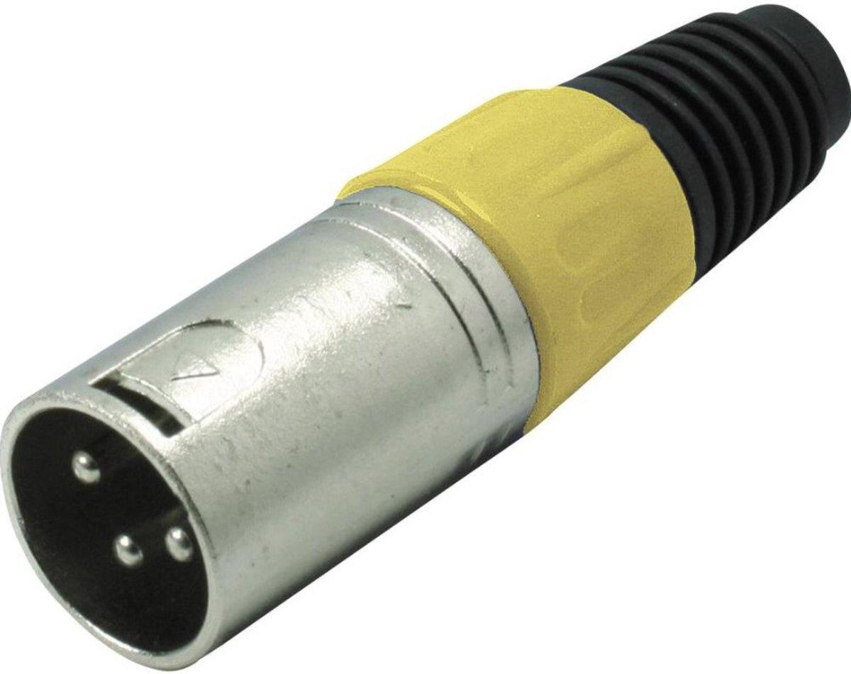 S-Impuls XLR 3-pins (m) connector met plastic trekontlasting - grijs/geel