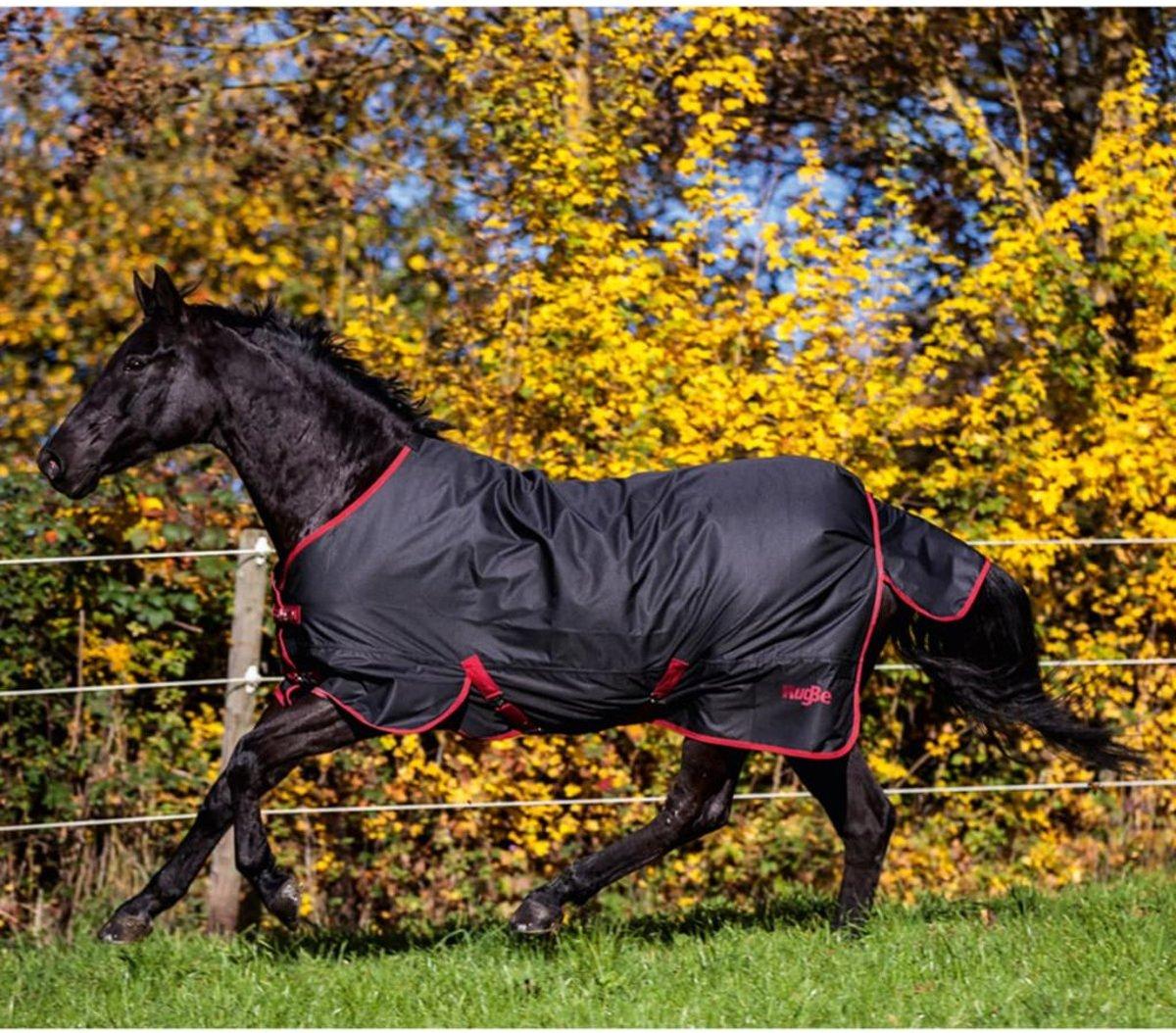 Kerbl Paardendeken Outdoor RugBe Zero 1 - Zwart/rood - 125 cm