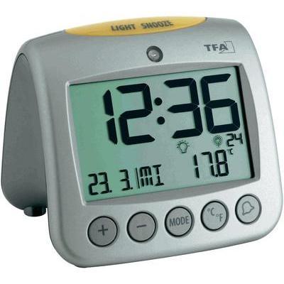 Zendergestuurd Wekker TFA 60.2514 Zilver Alarmtijden 2